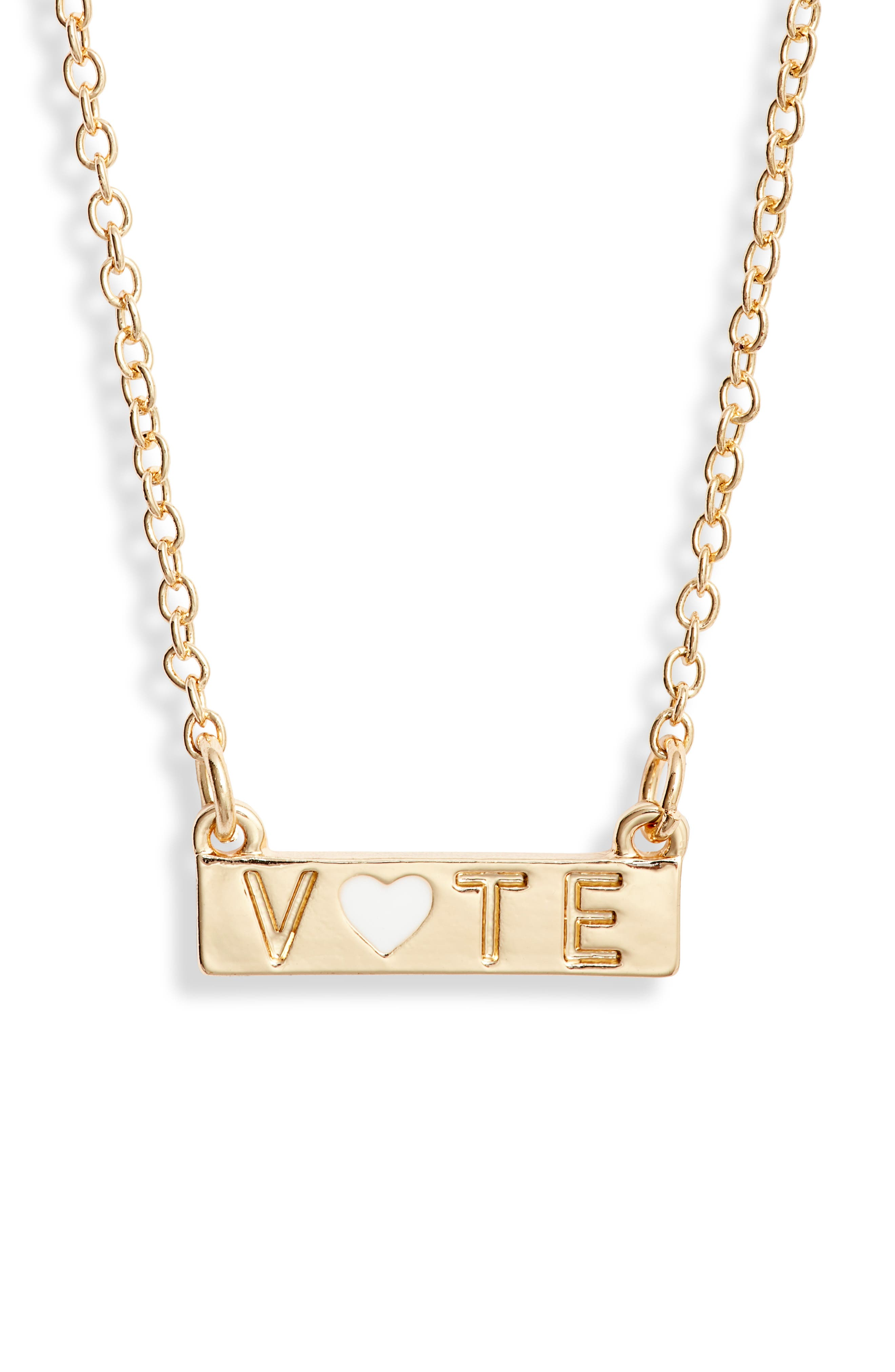 This necklace makes an important statement, but it\\\'s voting that ensures your voice is heard. Style Name: Bp. Vote Necklace. Style Number: 6097993. Available in stores.
