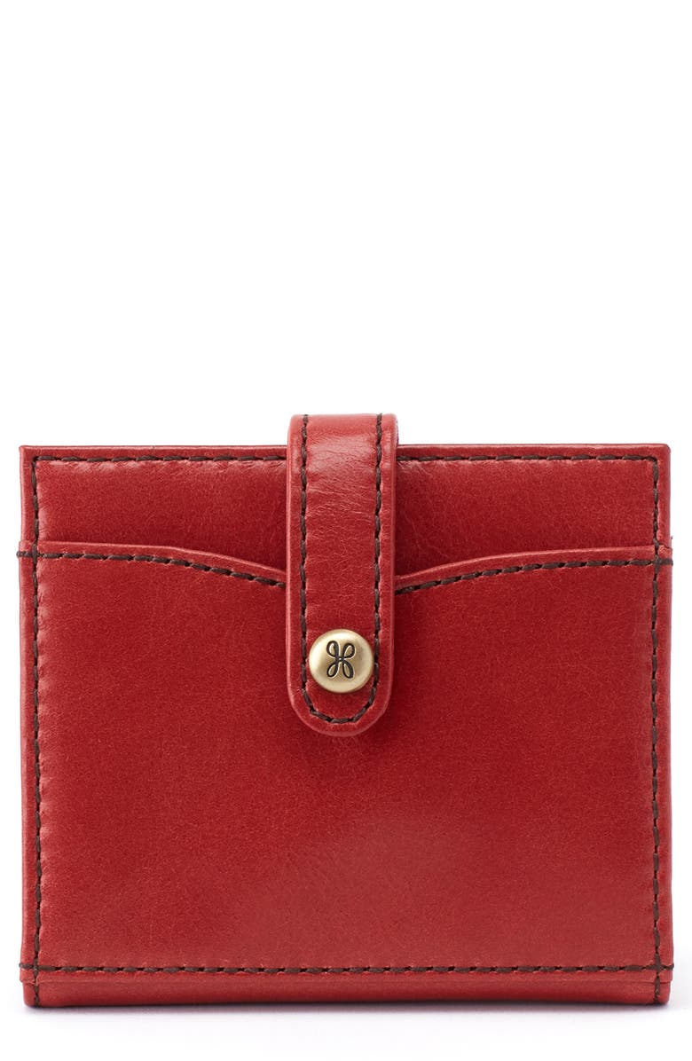 HOBO Tad Bifold Leather Card Case, Main, color, BRICK