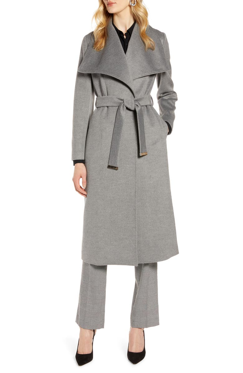 TED BAKER LONDON Wide Collar Brushed Wrap Coat, Main, color, LIGHT GREY