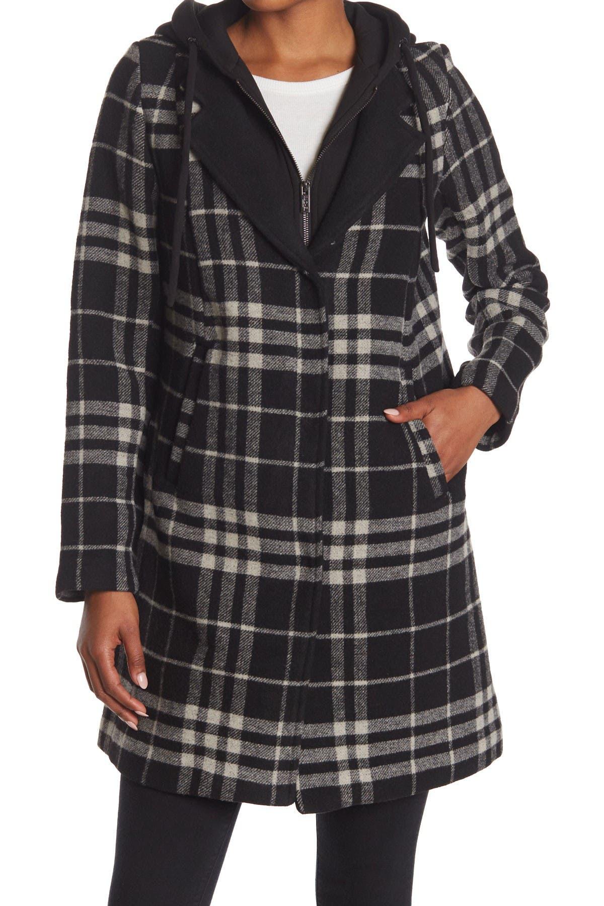 Image of RACHEL Rachel Roy Plaid Hooded Wool Coat