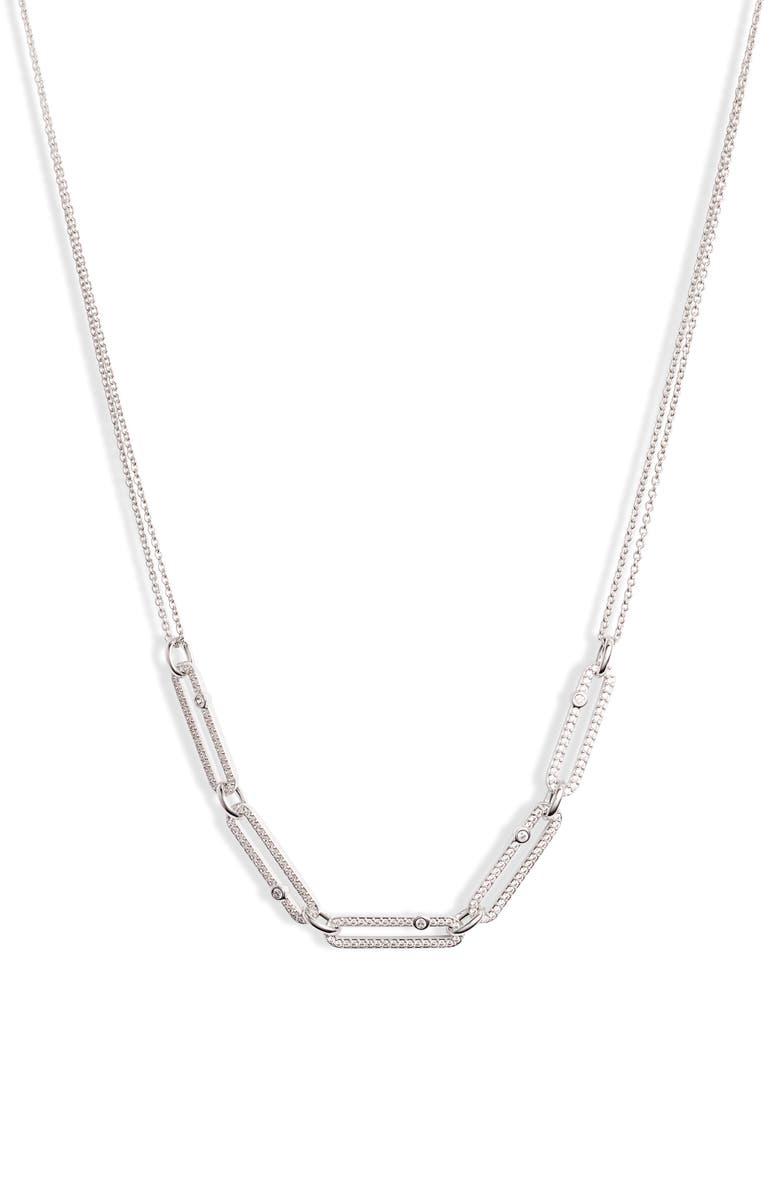 NADRI Cubic Zirconia Links Frontal Necklace, Main, color, 040