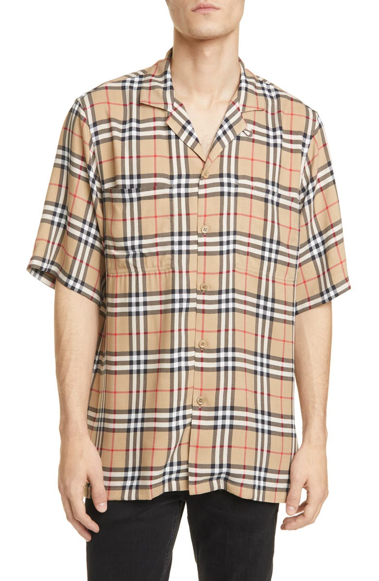 BURBERRY Raymouth Check Short Sleeve Button-Up Shirt, Main, color, ARCHIVE BEIGE IP CHK