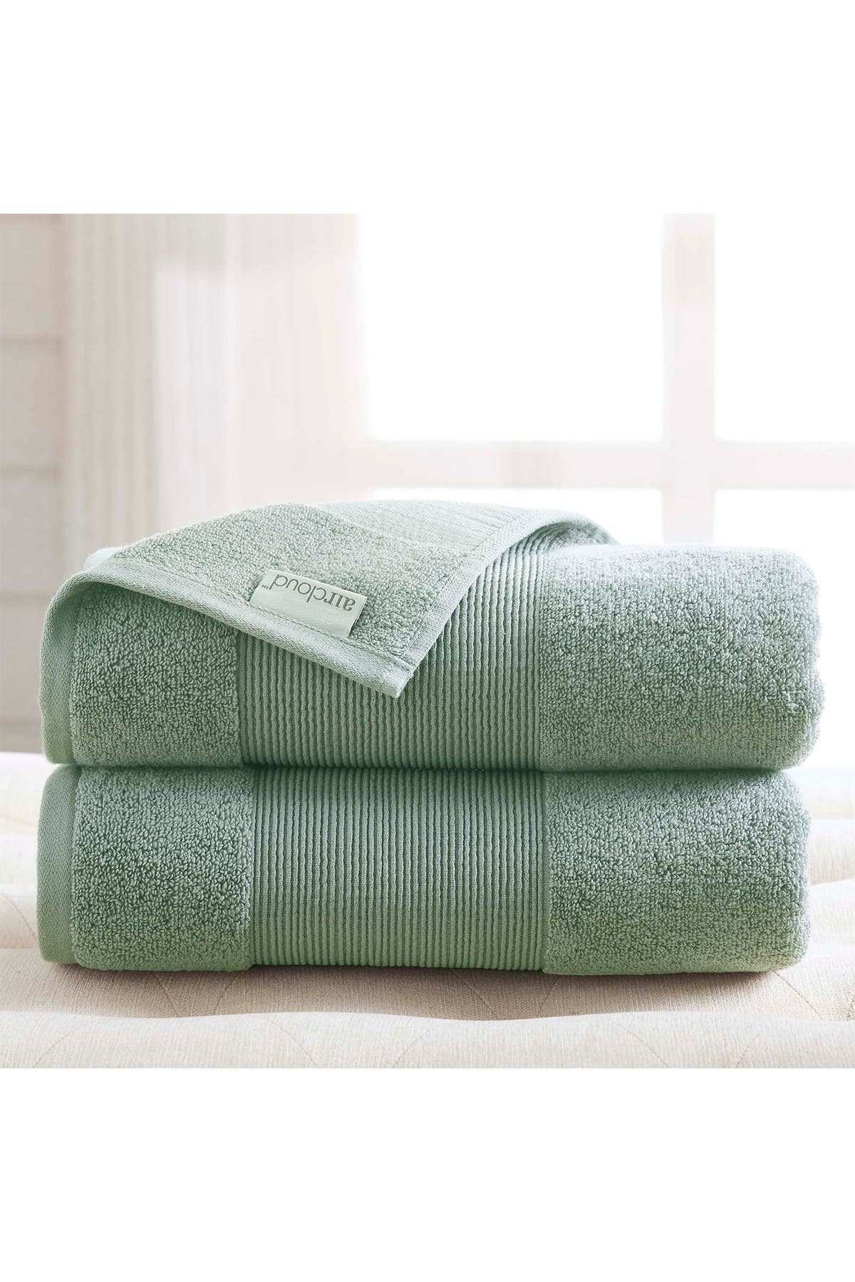 Image of Modern Threads Air Cloud Oversized Bath Sheet - Set of 2 - Eucalyptus