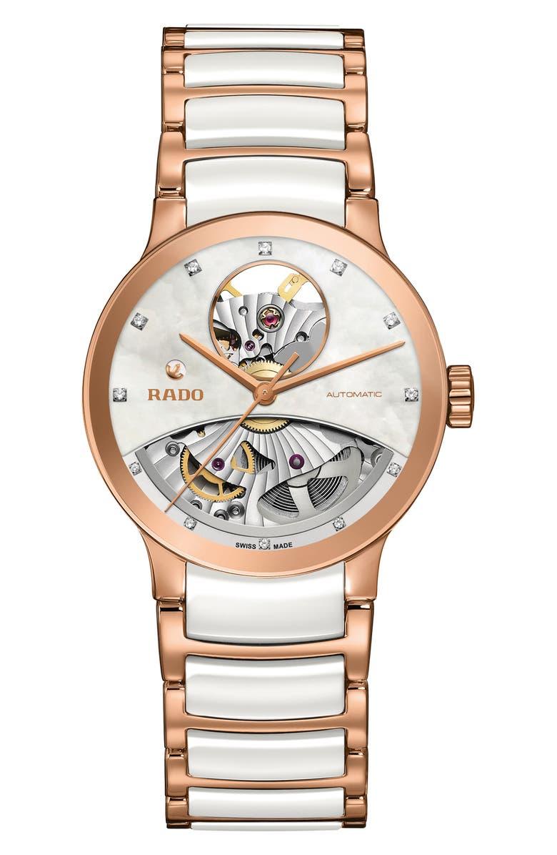 RADO Centrix Open Heart Automatic Diamond Ceramic Bracelet Watch, 33mm, Main, color, 100