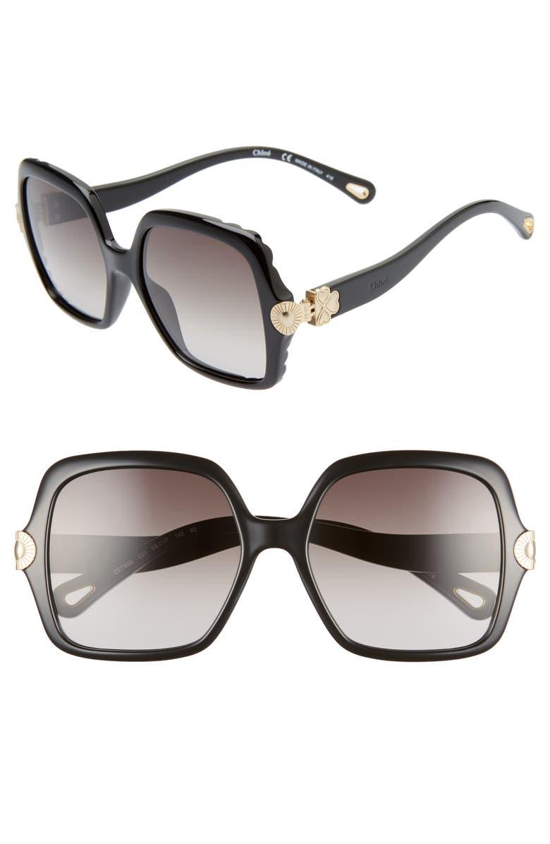CHLOÉ Vera 55mm Square Sunglasses, Main, color, BLACK/ GREY GRADIENT