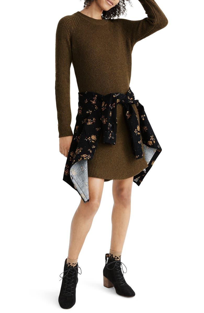 MADEWELL Curved Hem Sweater Dress, Main, color, HTHR ELM