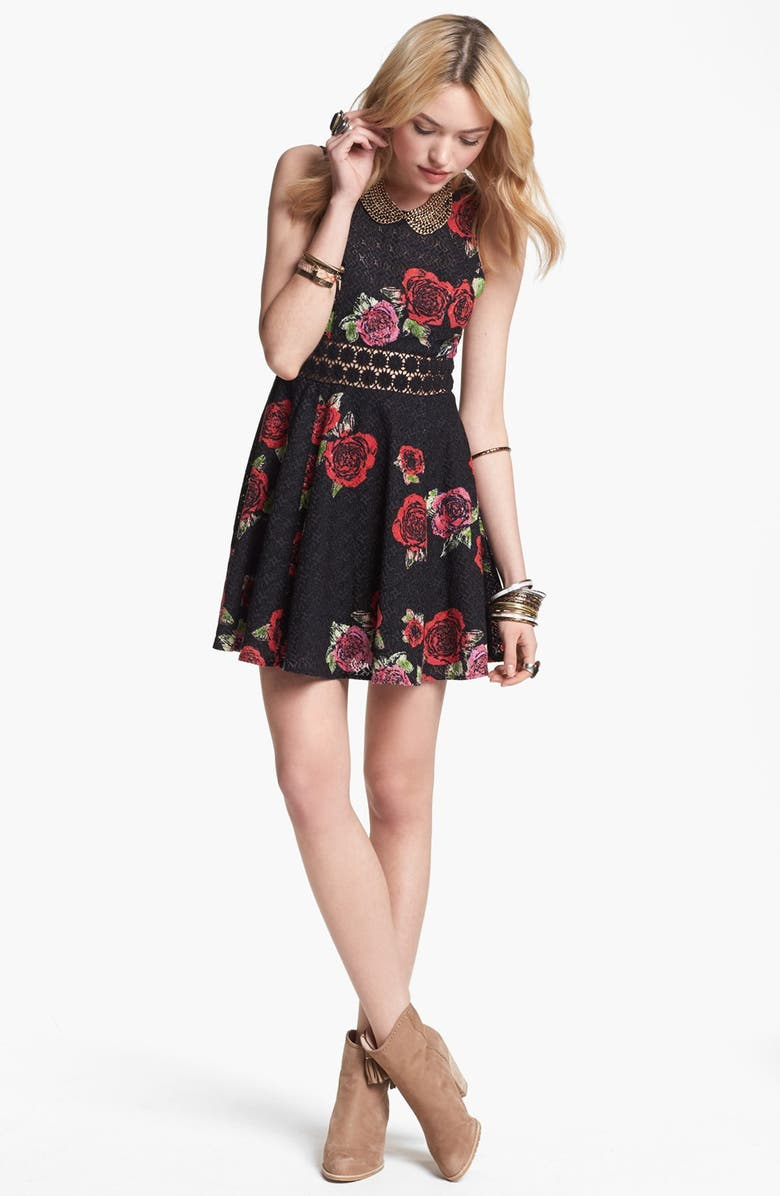 FREE PEOPLE Floral Print Dress, Main, color, 001