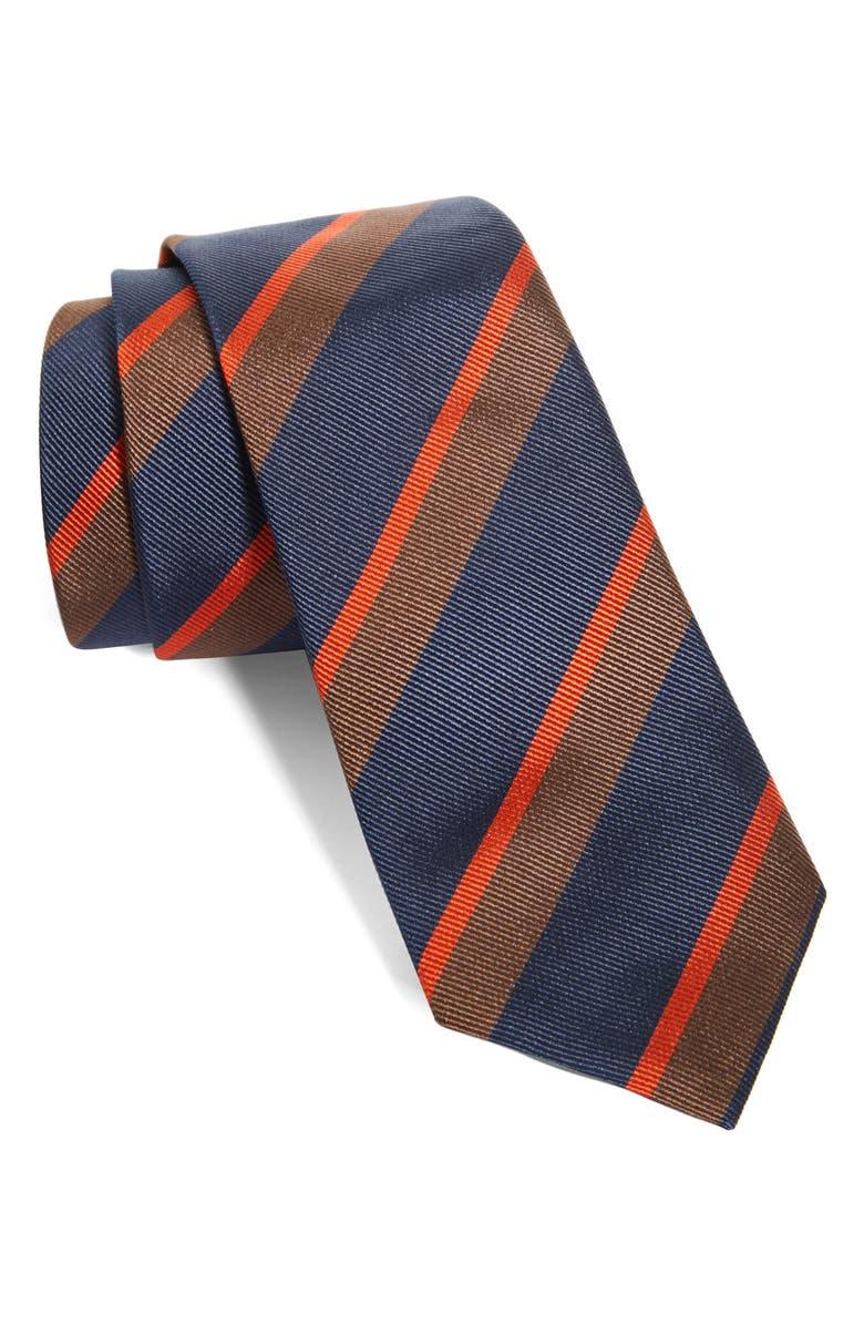 BRUNELLO CUCINELLI Stripe Silk Tie, Main, color, 410