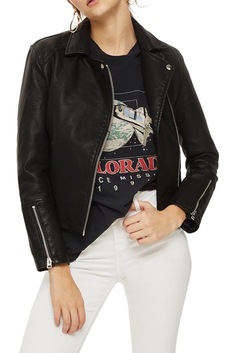 TOPSHOP Daze Faux Leather Biker Jacket, Main, color, 001