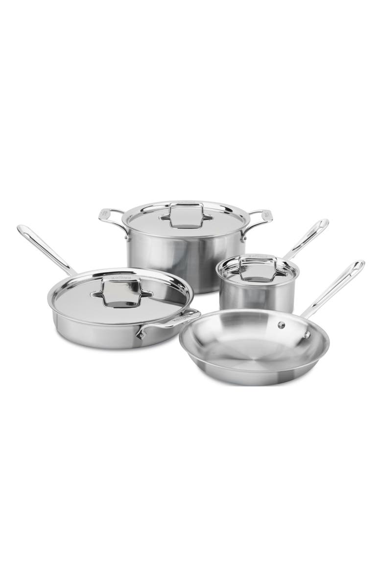 ALL-CLAD d5<sup>®</sup> 7-Piece Brushed Stainless Steel Cookware Set, Main, color, 049
