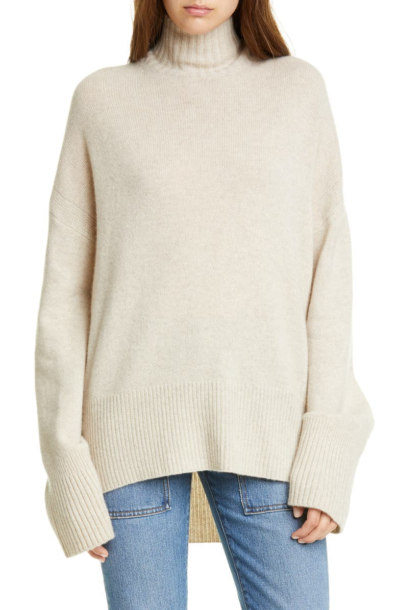 FRAME High/Low Cashmere Sweater, Main, color, OATMEAL HEATHER
