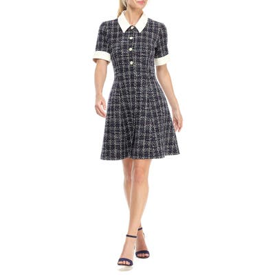 Gal Meets Glam Collection Leslie Boucle Tweed Button Front Fit & Flare Dress, Blue