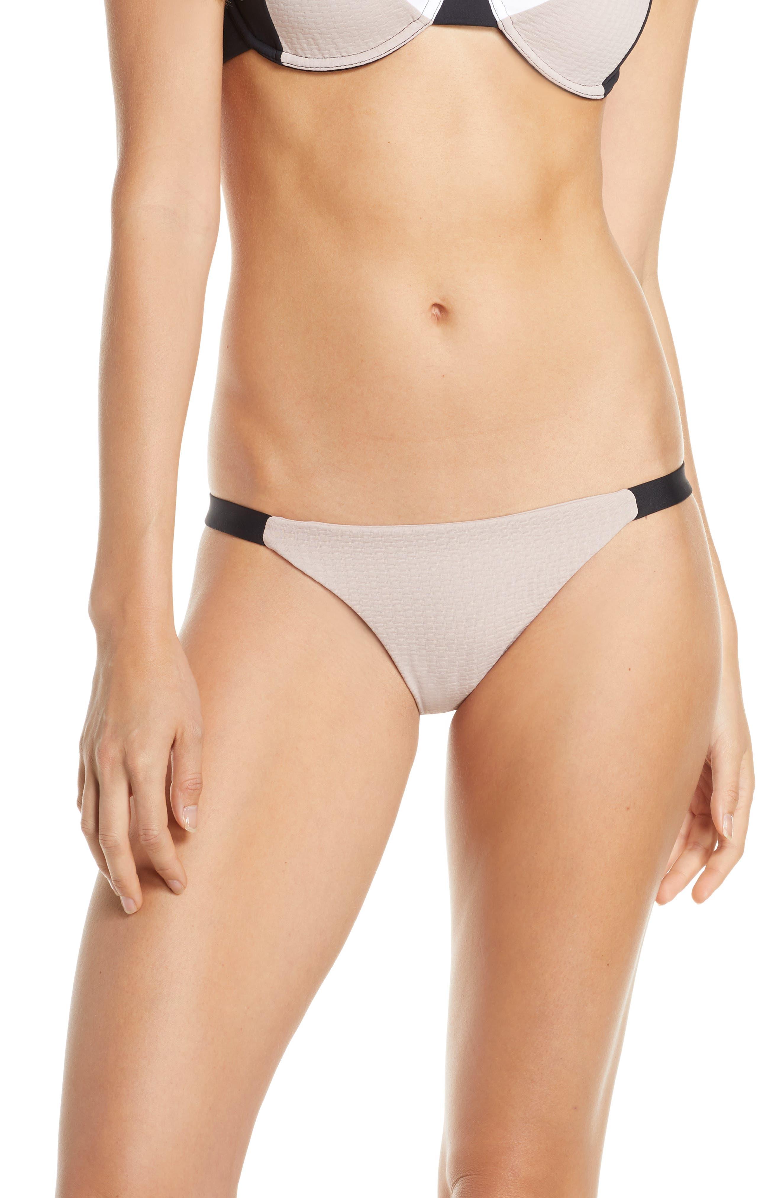 ,                             Heather Bikini Bottom,                             Main thumbnail 1, color,                             CLAY/ BLACK