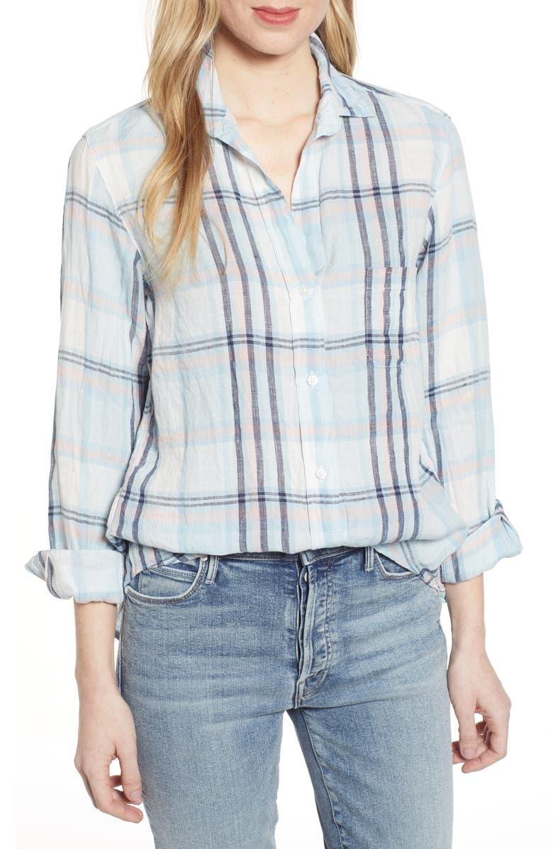 GRAYSON The Hero Plaid Tumbled Linen Shirt, Main, color, LOUISA BLUE MULTI STRIPE