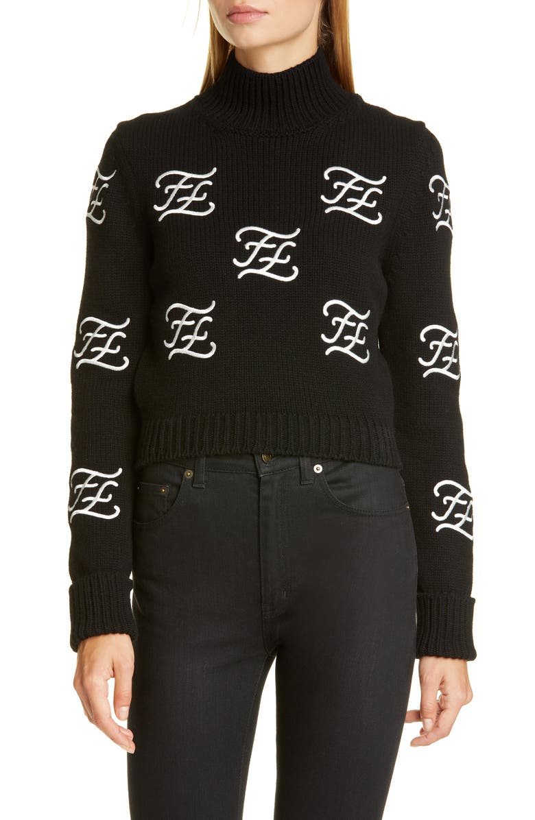 FENDI Logo Embroidered Crop Wool & Cashmere Sweater, Main, color, BLACK