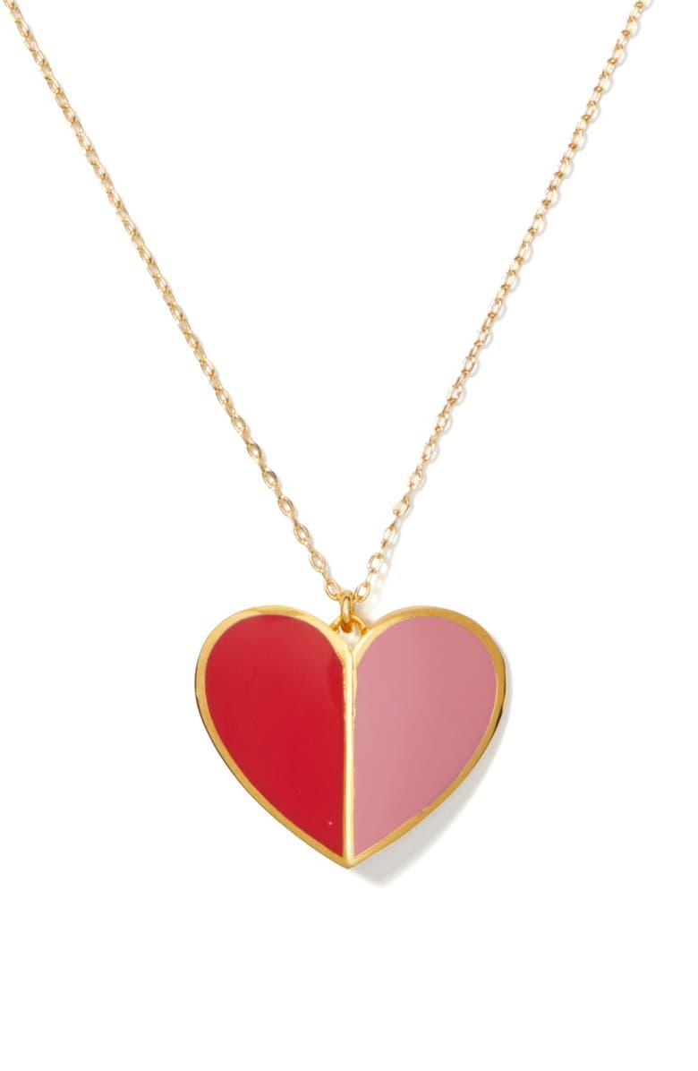 KATE SPADE NEW YORK heritage spade heart pendant necklace, Main, color, PINK MULTI