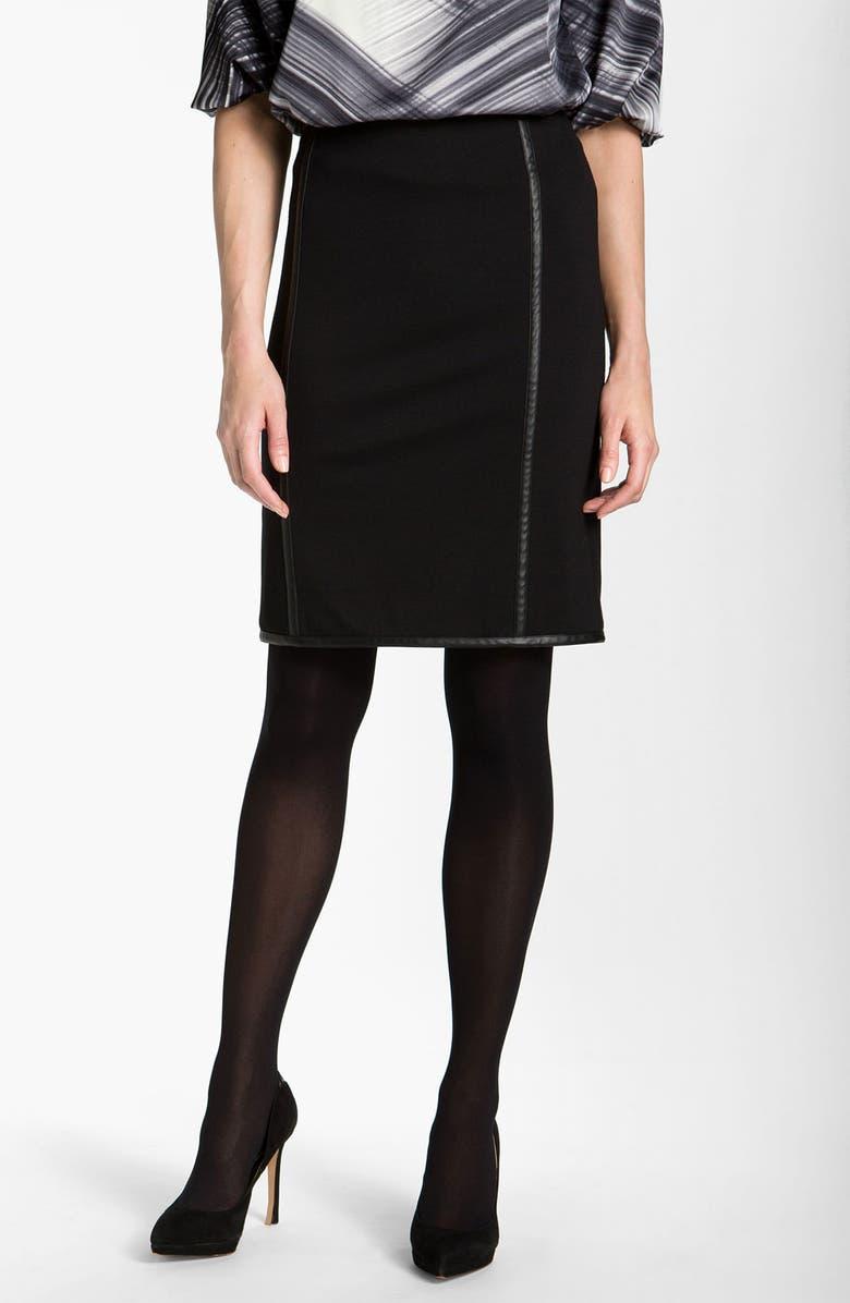 VINCE CAMUTO Faux Leather Trim Skirt, Main, color, 001