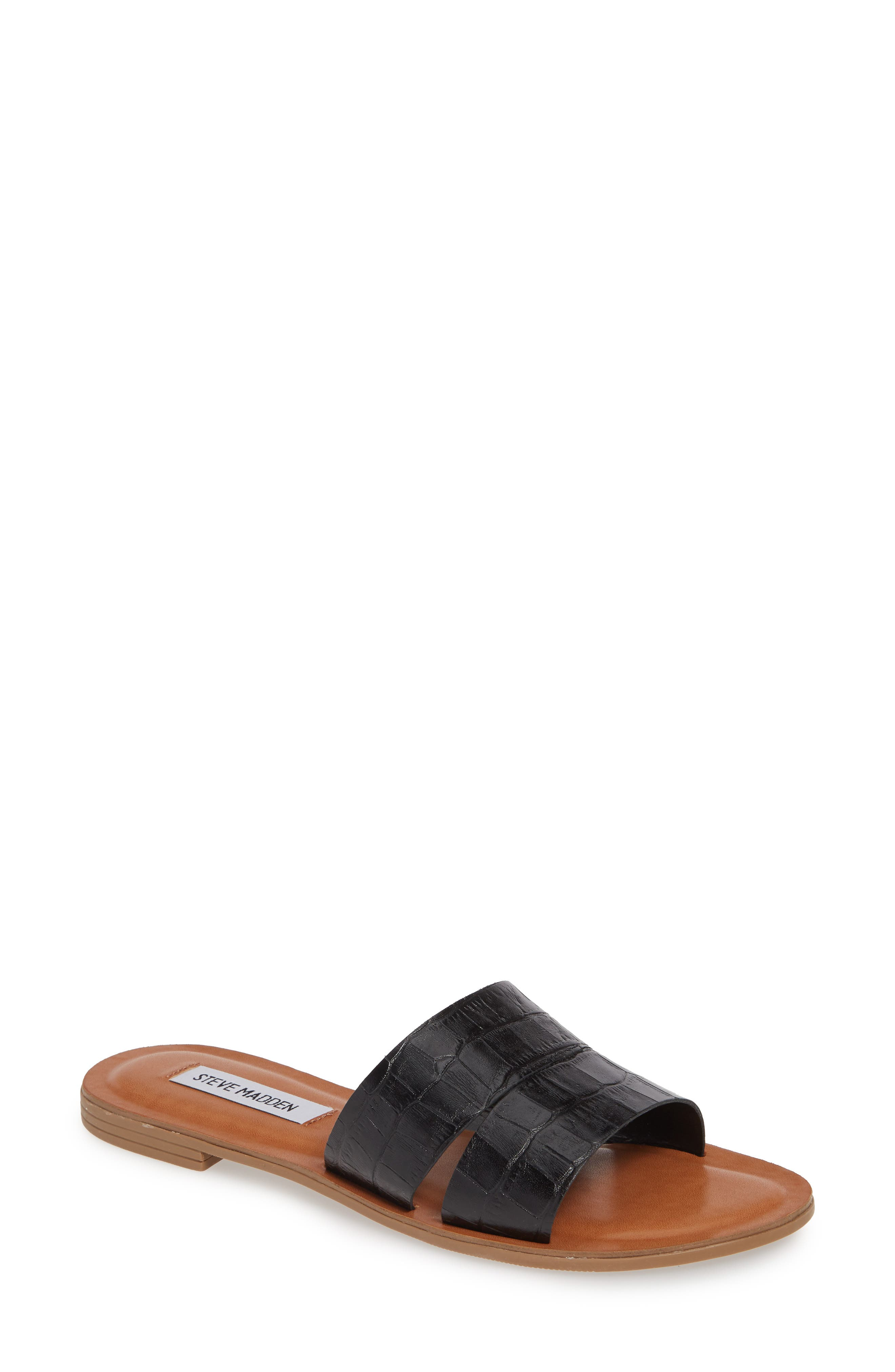 Alexandra Slide Sandal, Main, color, BLACK CROCO