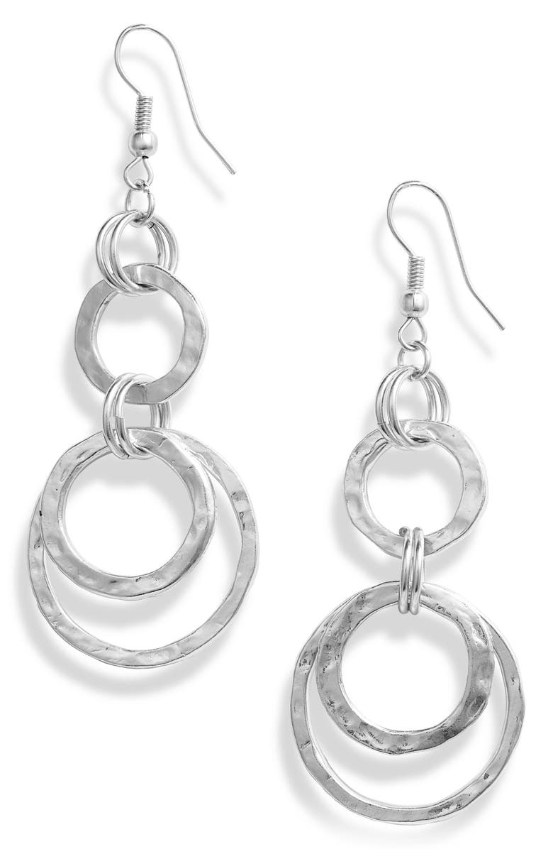 KARINE SULTAN Hoop Drop Earrings, Main, color, SILVER
