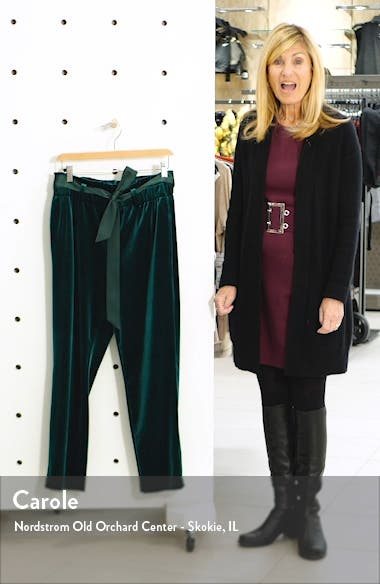 Paperbag Waist Velour Ankle Pants, sales video thumbnail