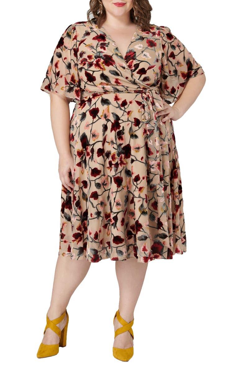 MARÉE POUR TOI Floral Print Wrap Dress, Main, color, BLUSH