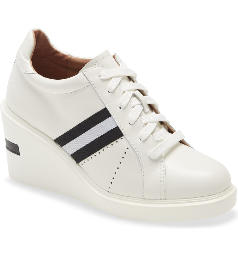 LINEA PAOLO Kandis Wedge Sneaker, Main, color, WHITE LEATHER