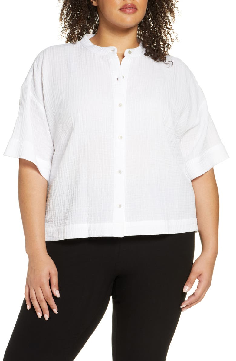 EILEEN FISHER Boxy Organic Cotton Top, Main, color, WHITE