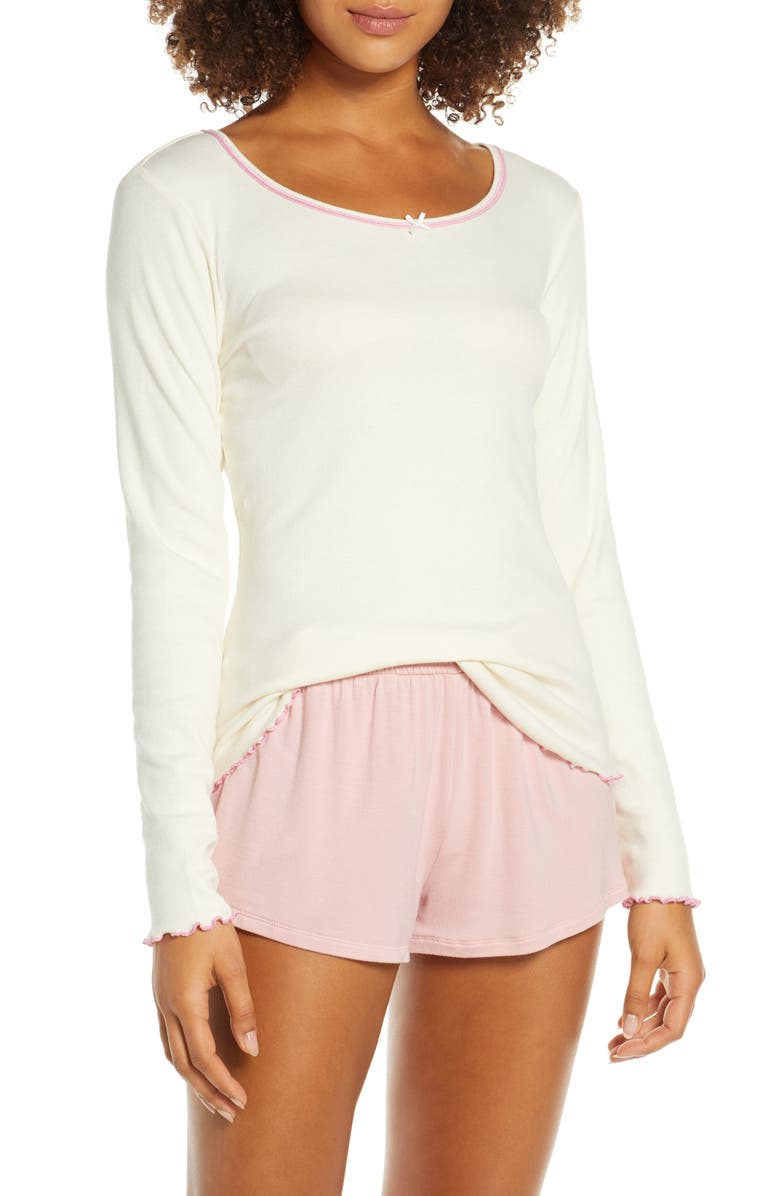 HATLEY Ribbed Lounge Top, Main, color, WHITE