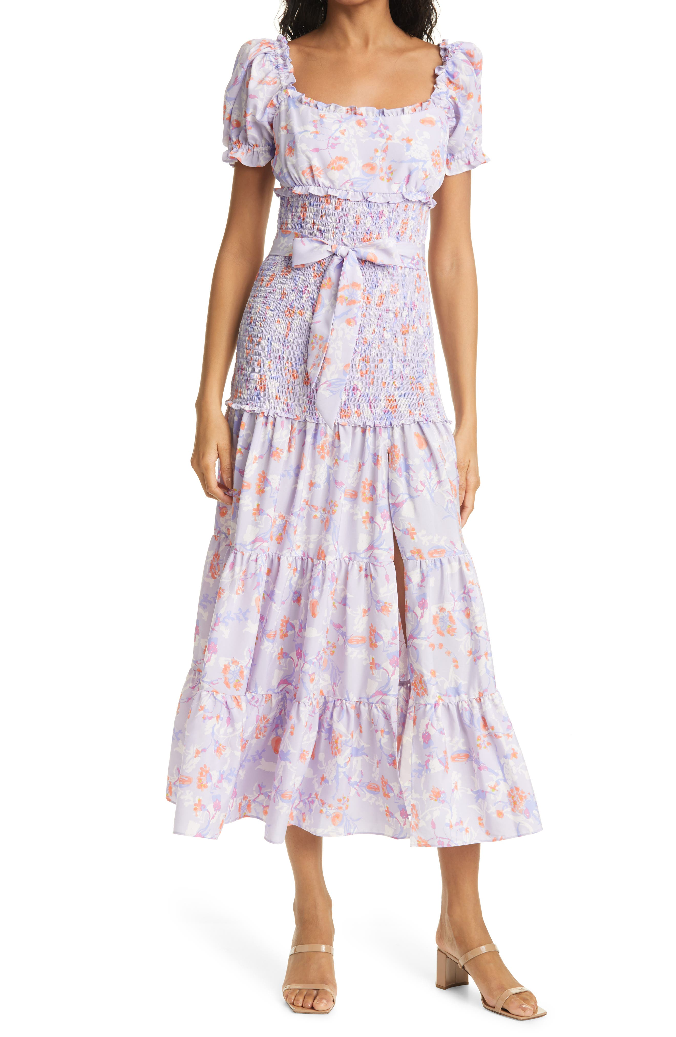 Taylor Floral Smocked & Belted Tiered Dress
