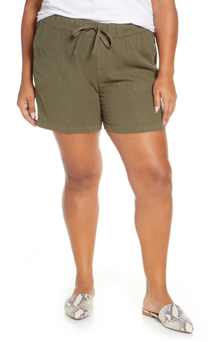 CASLON<SUP>®</SUP> Drawstring Linen Blend Shorts, Main, color, OLIVE SARMA