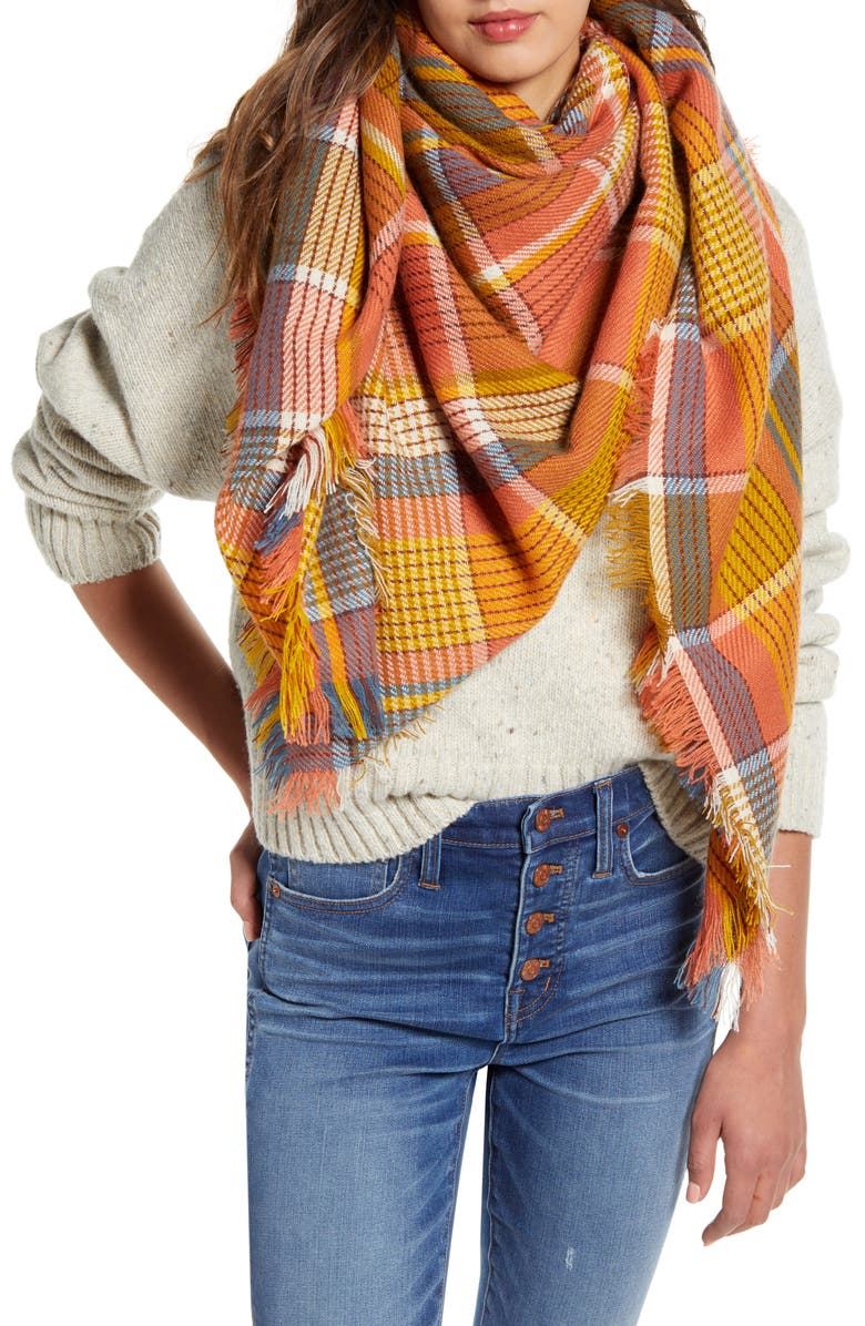 MADEWELL Multi Plaid Blanket Scarf, Main, color, SWEET DAHLIA MULTI