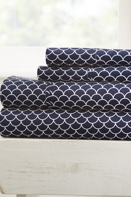 Image of IENJOY HOME The Home Spun Premium Ultra Soft Scallops Pattern 4-Piece King Bed Sheet Set - Navy