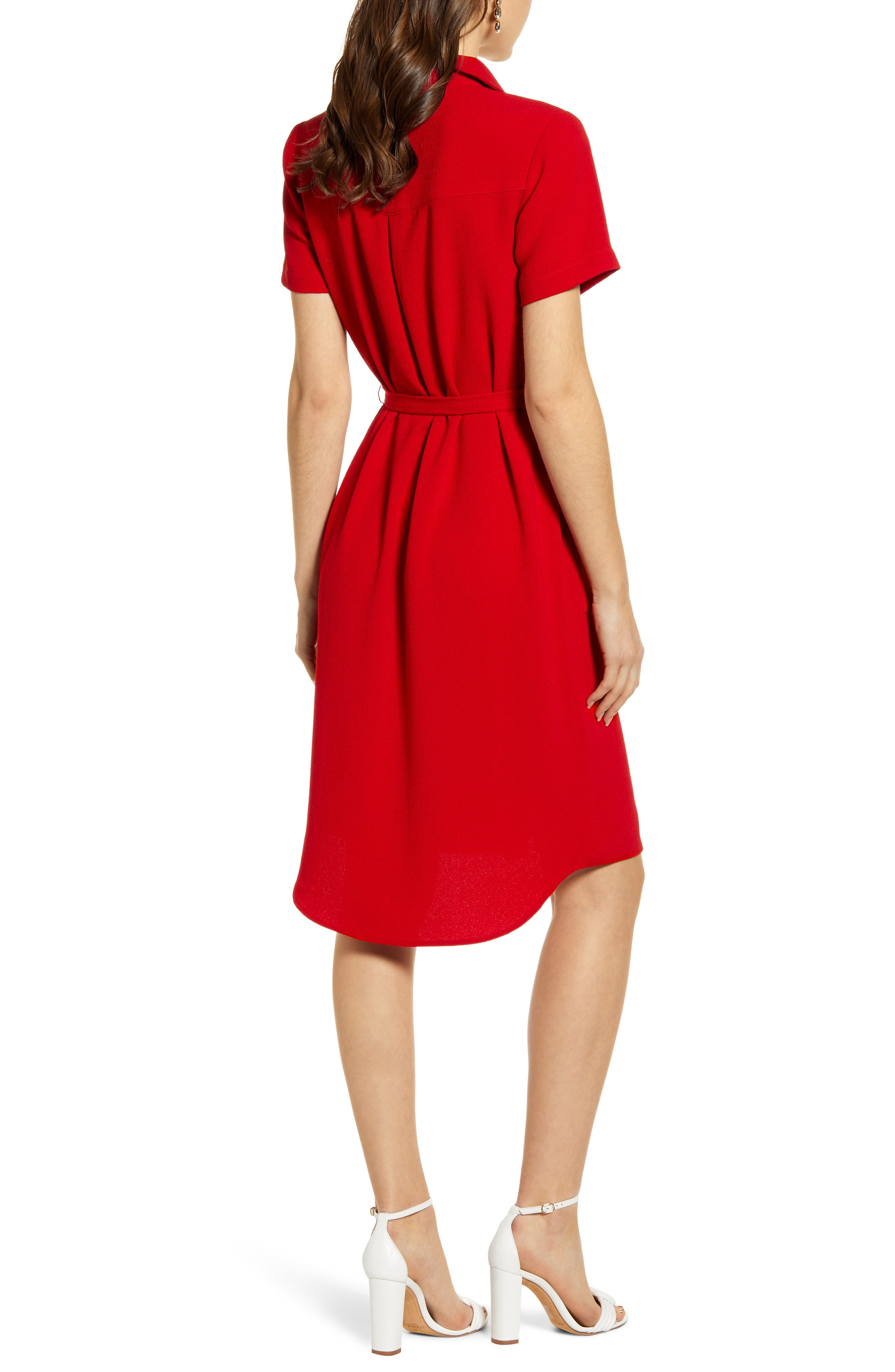 ,                             Everyday High/Low Shirt Dress,                             Alternate thumbnail 2, color,                             RED BARBADOS