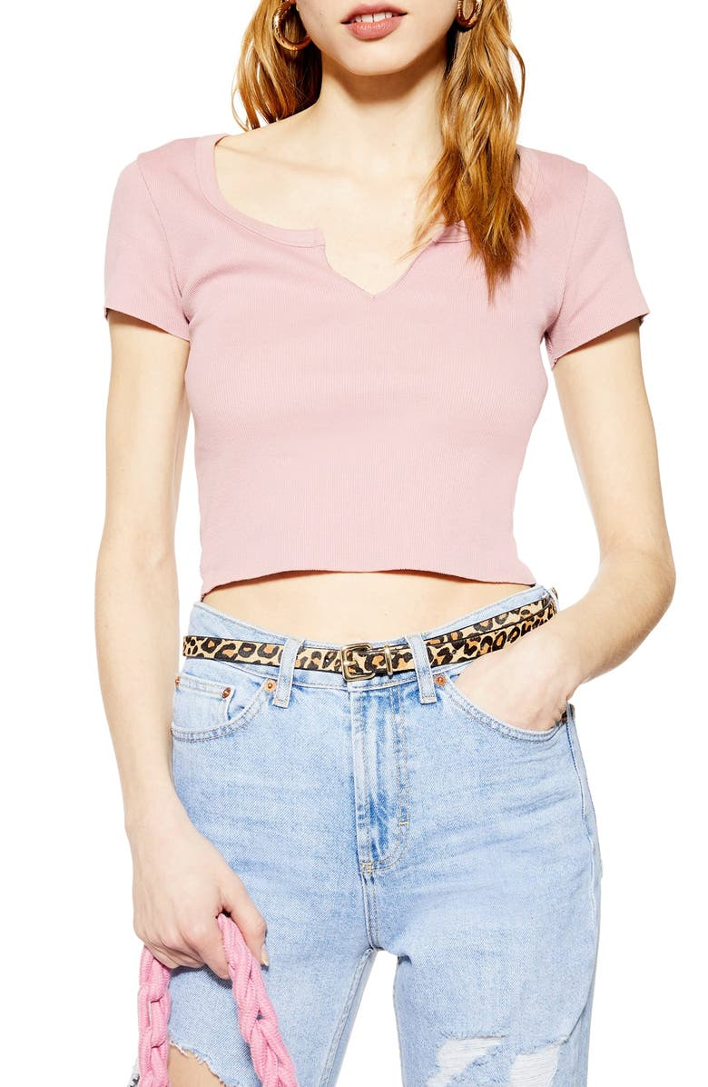 TOPSHOP Notch Neck Tee, Main, color, LIGHT PINK