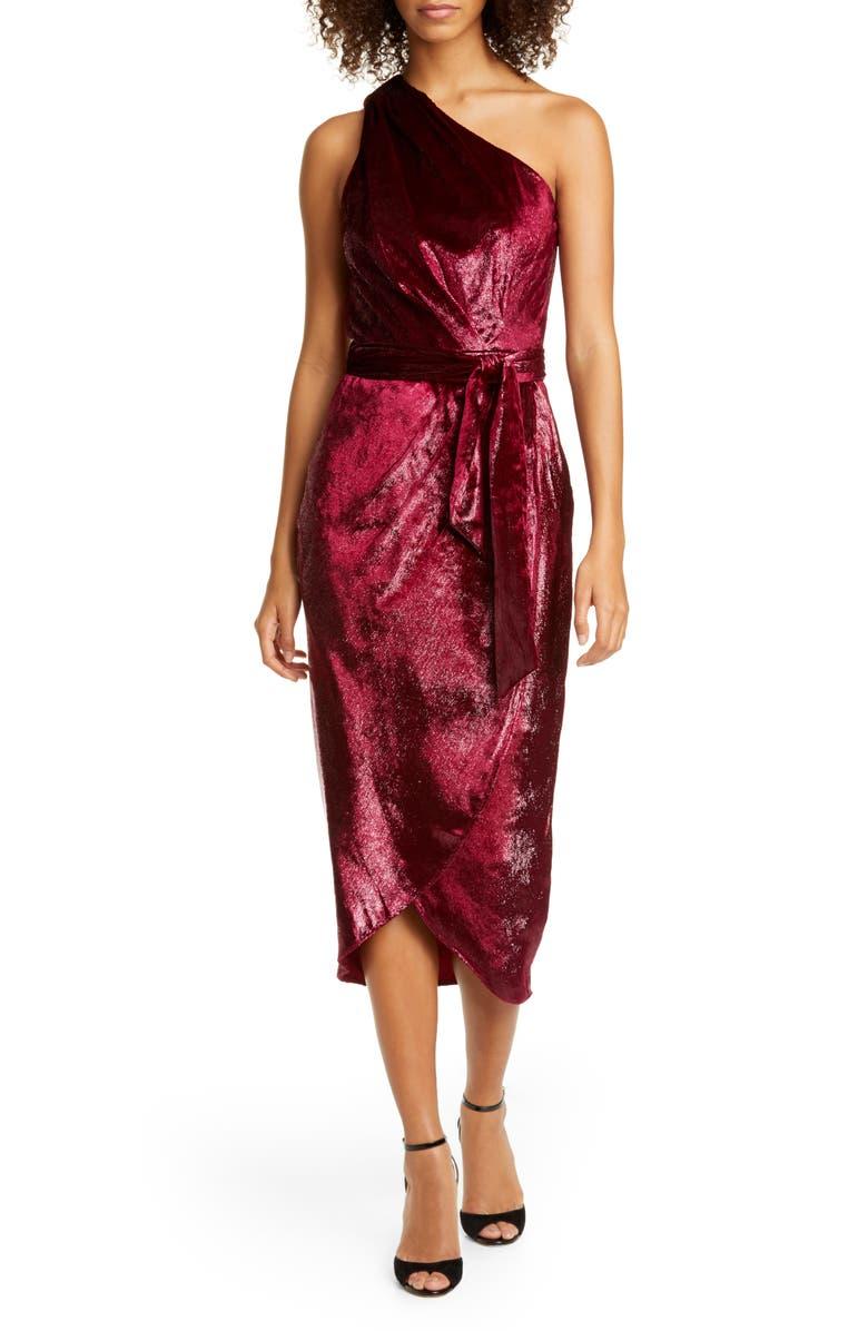 TED BAKER LONDON Abinaa One-Shoulder Drape Midi Dress, Main, color, 930