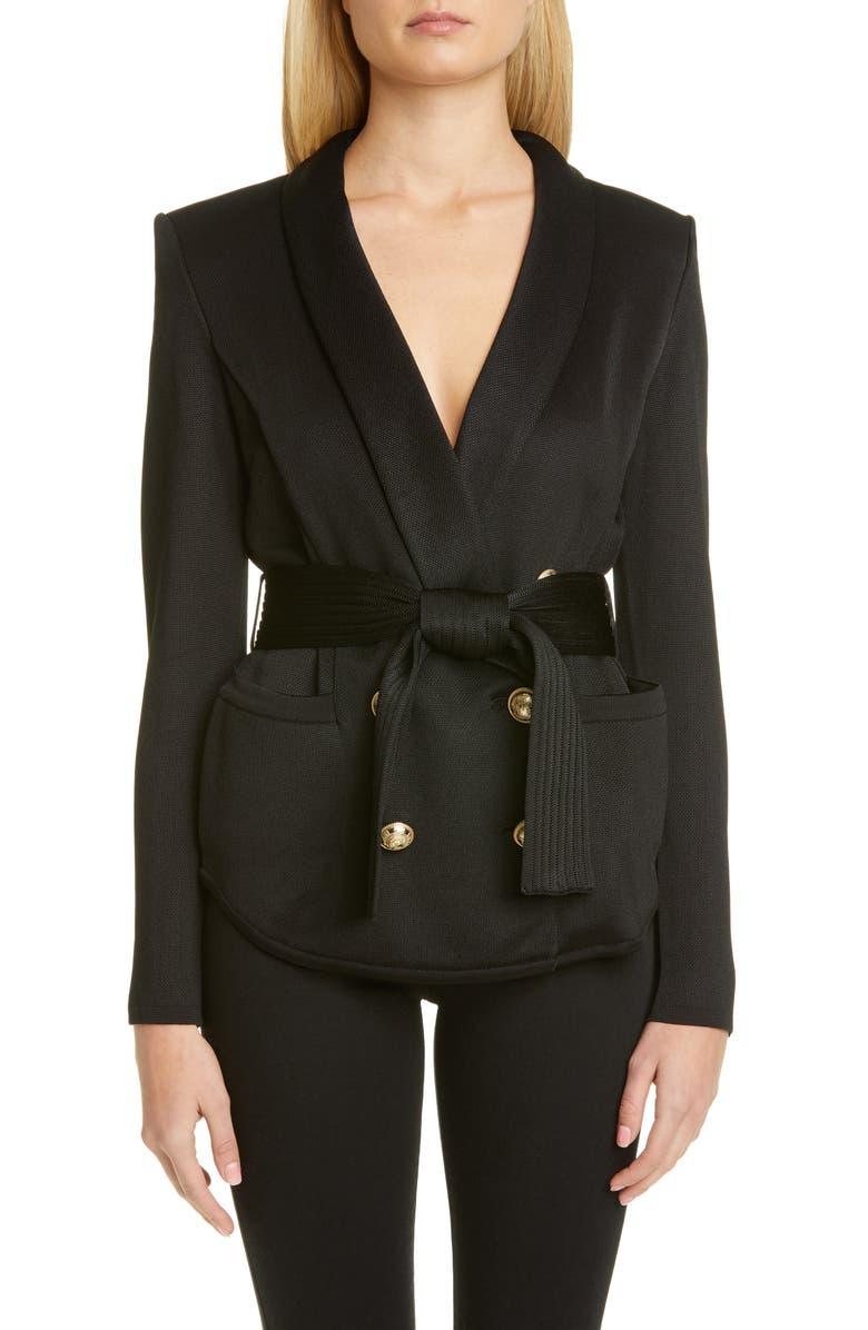 BALMAIN Belted Knit Blazer, Main, color, NOIR