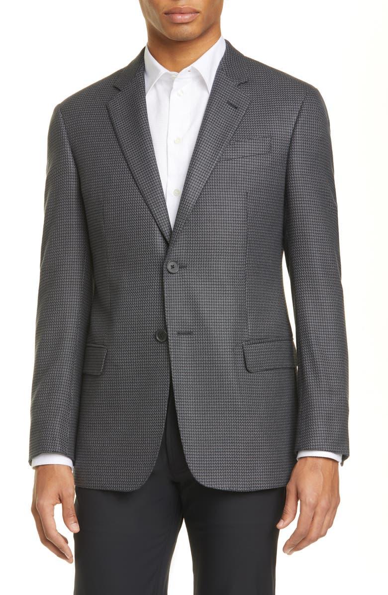 EMPORIO ARMANI G Line Trim Fit Houndstooth Stretch Sport Coat, Main, color, GREY