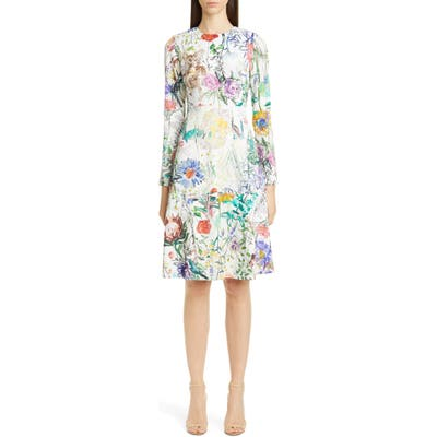 Lela Rose Sketch Floral Long Sleeve Tiered Dress, Ivory