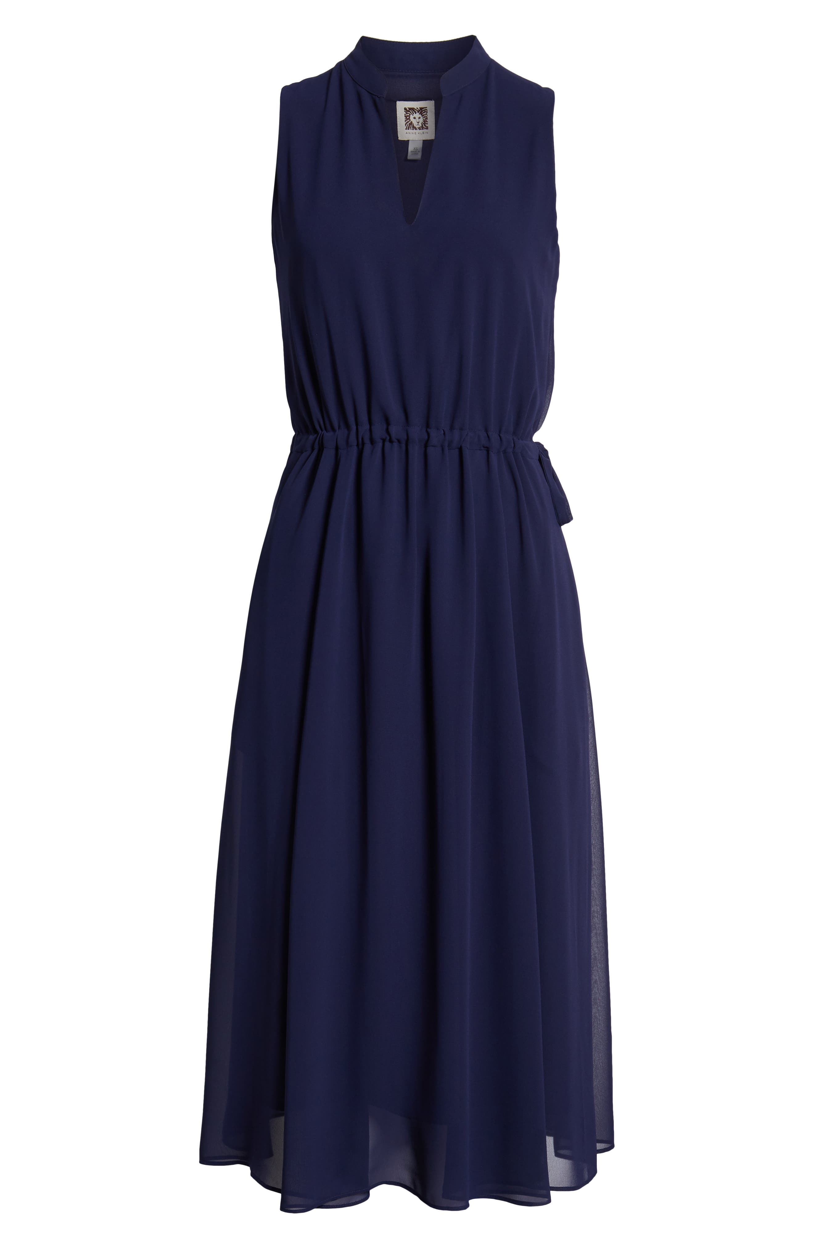 ,                             Chiffon Drawstring Midi Dress,                             Alternate thumbnail 7, color,                             DISTANT MOUNTAIN