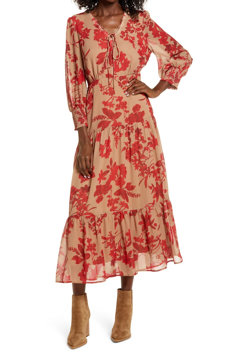 SAM EDELMAN Floral Long Sleeve Tiered Midi Dress, Main, color, BROWN/ RED
