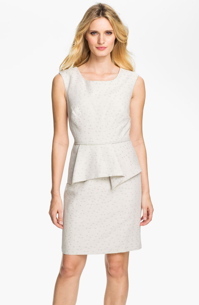 DONNA RICCO Metallic Polka Dot Peplum Dress, Main, color, 100