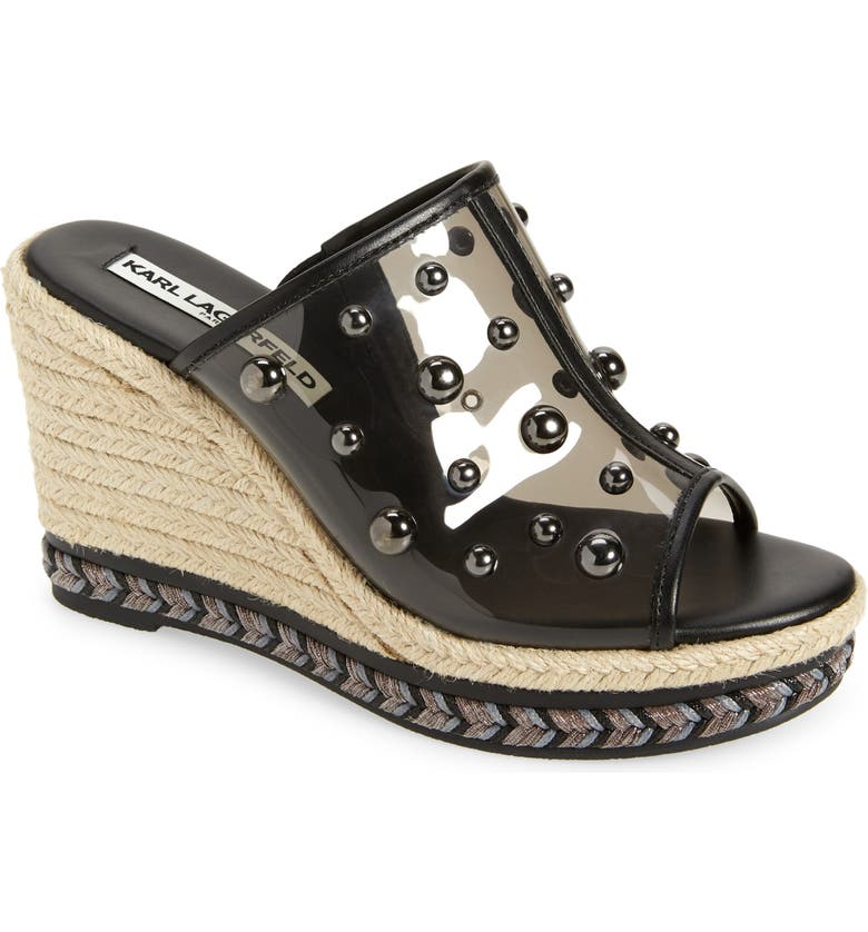 KARL LAGERFELD PARIS Carita Wedge Sandal, Main, color, 001