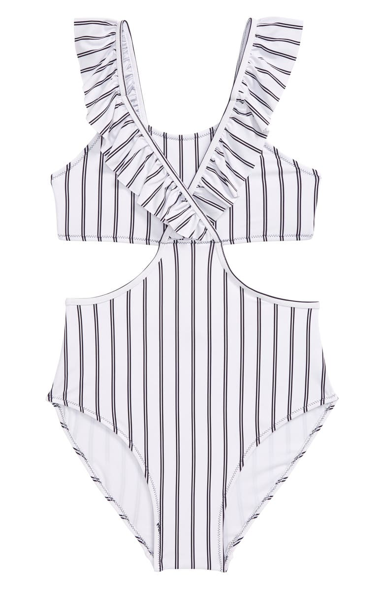 HABITUAL GIRL Habitual Ruffle Stripe One-Piece Swimsuit, Main, color, NAVY