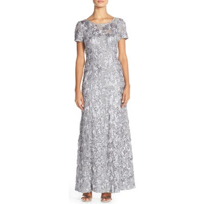 Alex Evenings Embellished Lace A-Line Gown, Ivory