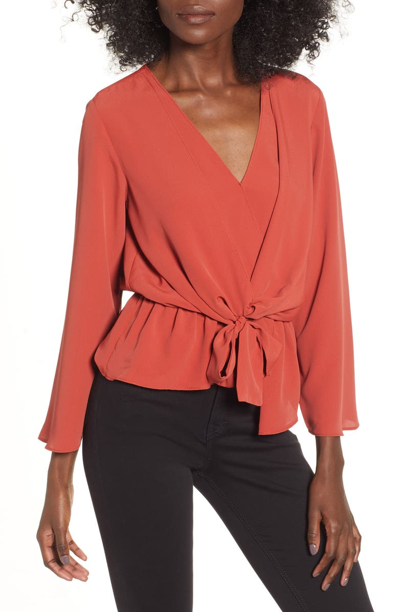 TOPSHOP Tiffany Asymmetrical Blouse, Main, color, 220