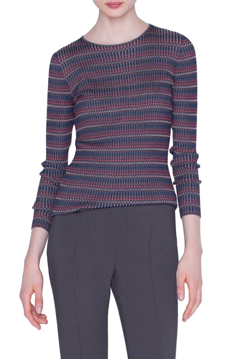 AKRIS Check Rib Silk Sweater, Main, color, MULTICOLOR