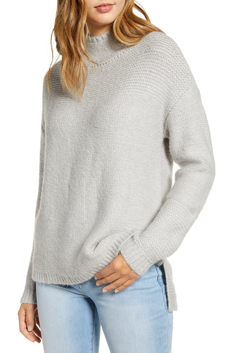 CASLON<SUP>®</SUP> Mock Neck High Low Sweater, Main, color, GREY LIGHT HEATHER