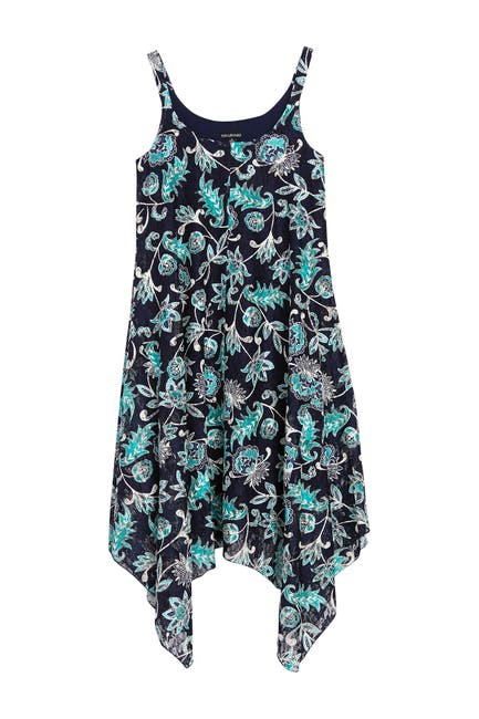 Image of Nina Leonard Printed Lace Handkerchief Hem Shift Dress
