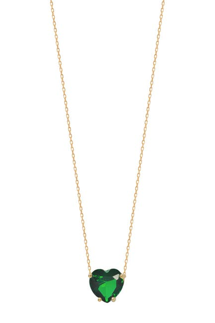 Image of Gabi Rielle 14K Yellow Gold Vermeil Prong Set Emerald CZ Heart Pendant Necklace