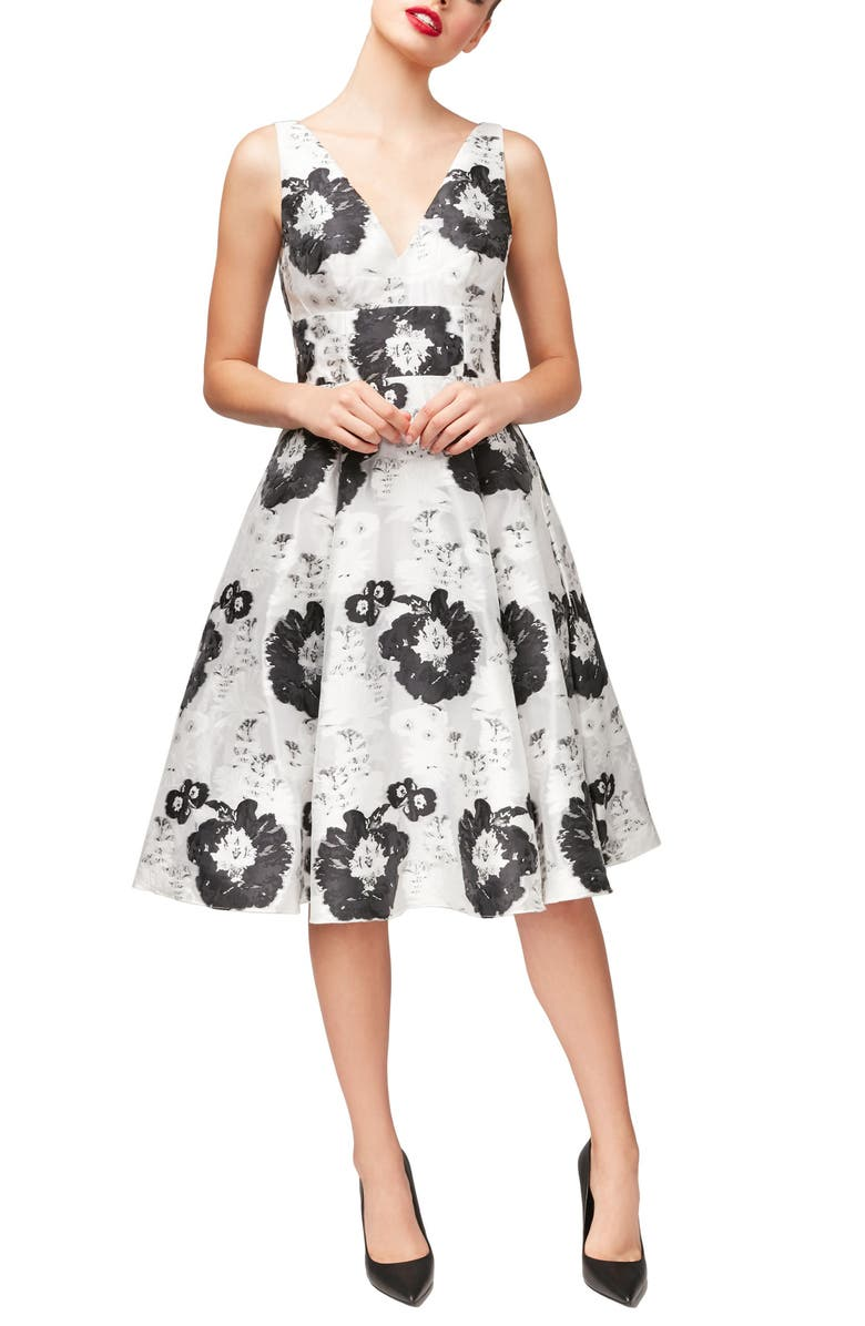 BETSEY JOHNSON Floral Fit & Flare Dress, Main, color, 102